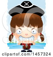Clipart Of A 3d Mad White Girl Pirate Over Strokes Royalty Free Vector Illustration