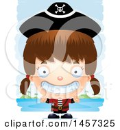 Clipart Of A 3d Grinning White Girl Pirate Over Strokes Royalty Free Vector Illustration