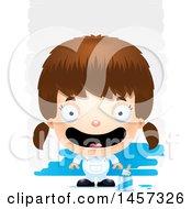 Poster, Art Print Of 3d Happy White Girl Painter Over Strokes
