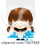 Clipart Of A 3d Happy White Girl Painter Over Strokes Royalty Free Vector Illustration