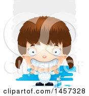 Poster, Art Print Of 3d Grinning White Girl Painter Over Strokes