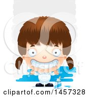 Clipart Of A 3d Grinning White Girl Painter Over Strokes Royalty Free Vector Illustration