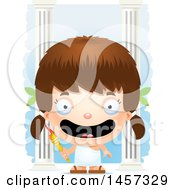 Clipart Of A 3d Happy White Girl Holding A Torch Over Columns Royalty Free Vector Illustration by Cory Thoman