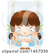 Clipart Of A 3d Mad White Girl Holding A Torch Over Columns Royalty Free Vector Illustration by Cory Thoman