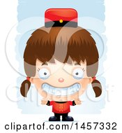 Clipart Of A 3d Grinning White Girl Over Strokes Royalty Free Vector Illustration