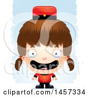Clipart Of A 3d Happy White Girl Bellhop Over Strokes Royalty Free Vector Illustration by Cory Thoman