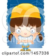 Clipart Of A 3d Mad White Girl Builder Over Blue Royalty Free Vector Illustration