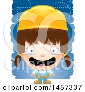 Clipart Of A 3d Grinning White Girl Builder Over Blue Royalty Free Vector Illustration