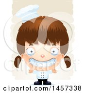 Clipart Of A 3d Grinning White Girl Chef Over Strokes Royalty Free Vector Illustration