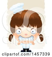 Clipart Of A 3d Mad White Girl Chef Over Strokes Royalty Free Vector Illustration