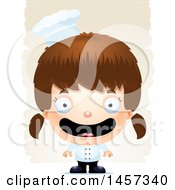 Clipart Of A 3d Happy White Girl Chef Over Strokes Royalty Free Vector Illustration