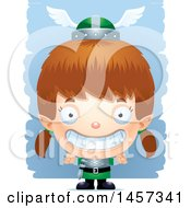 Clipart Of A 3d Grinning White Girl Elf Over Strokes Royalty Free Vector Illustration