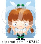 Clipart Of A 3d Mad White Girl Elf Over Strokes Royalty Free Vector Illustration