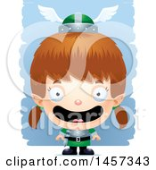 Clipart Of A 3d Happy White Girl Elf Over Strokes Royalty Free Vector Illustration