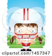Poster, Art Print Of 3d Grinning White Girl Football Player Over Strokes