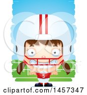 3d Grinning White Girl Football Player Over Strokes