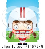 Poster, Art Print Of 3d Mad White Girl Football Player Over Strokes
