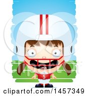 Clipart Of A 3d Happy White Girl Football Player Over Strokes Royalty Free Vector Illustration