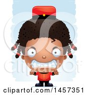Clipart Of A 3d Mad Black Girl Over Strokes Royalty Free Vector Illustration