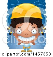 Clipart Of A 3d Grinning Black Girl Builder Over Blue Royalty Free Vector Illustration