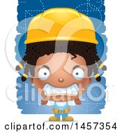 Clipart Of A 3d Mad Black Girl Builder Over Blue Royalty Free Vector Illustration