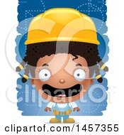 Clipart Of A 3d Happy Black Girl Builder Over Blue Royalty Free Vector Illustration