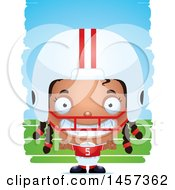 3d Grinning Black Girl Powder Puff Football Player Over Strokes