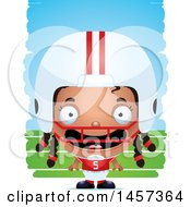 Clipart Of A 3d Happy Black Girl Powder Puff Football Player Over Strokes Royalty Free Vector Illustration