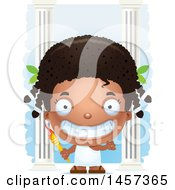 Clipart Of A 3d Grinning Black Girl Holding A Torch Over Columns Royalty Free Vector Illustration by Cory Thoman
