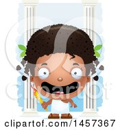 Clipart Of A 3d Happy Black Girl Holding A Torch Over Columns Royalty Free Vector Illustration by Cory Thoman