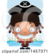 Clipart Of A 3d Grinning Black Girl Pirate Over Strokes Royalty Free Vector Illustration