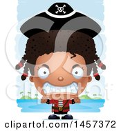 Clipart Of A 3d Mad Black Girl Pirate Over Strokes Royalty Free Vector Illustration