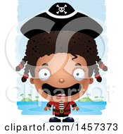 Clipart Of A 3d Happy Black Girl Pirate Over Strokes Royalty Free Vector Illustration
