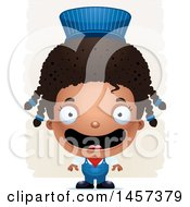 Clipart Of A 3d Happy Black Girl Train Engineer Over Strokes Royalty Free Vector Illustration by Cory Thoman