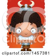 Clipart Of A 3d Mad Black Girl Viking Over Strokes Royalty Free Vector Illustration