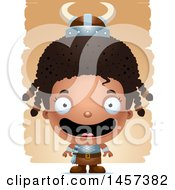 Clipart Of A 3d Happy Black Girl Viking Over Strokes Royalty Free Vector Illustration