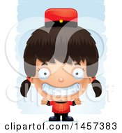 Clipart Of A 3d Grinning Hispanic Girl Over Strokes Royalty Free Vector Illustration