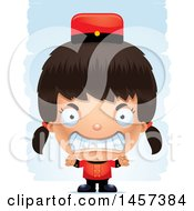 Clipart Of A 3d Mad Hispanic Girl Over Strokes Royalty Free Vector Illustration