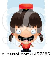 Clipart Of A 3d Happy Hispanic Girl Bellhop Over Strokes Royalty Free Vector Illustration by Cory Thoman