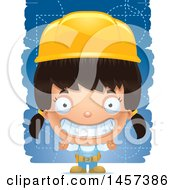 Clipart Of A 3d Grinning Hispanic Girl Builder Over Blue Royalty Free Vector Illustration