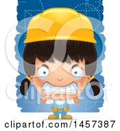 Clipart Of A 3d Mad Hispanic Girl Builder Over Blue Royalty Free Vector Illustration