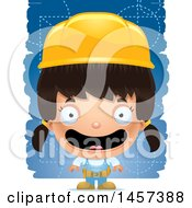 Clipart Of A 3d Happy Hispanic Girl Builder Over Blue Royalty Free Vector Illustration by Cory Thoman