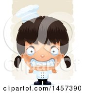 Clipart Of A 3d Mad Hispanic Girl Chef Over Strokes Royalty Free Vector Illustration by Cory Thoman