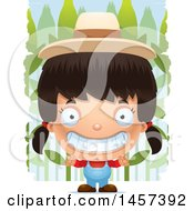 Clipart Of A 3d Grinning Hispanic Girl Farmer Over A Crop Royalty Free Vector Illustration