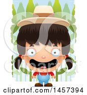 Clipart Of A 3d Happy Hispanic Girl Farmer Over A Crop Royalty Free Vector Illustration