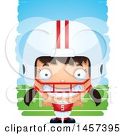 Clipart Of A 3d Grinning Hispanic Girl Powder Puff Football Player Over Strokes Royalty Free Vector Illustration