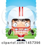 Clipart Of A 3d Mad Hispanic Girl Powder Puff Football Player Over Strokes Royalty Free Vector Illustration