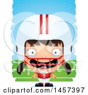 Clipart Of A 3d Happy Hispanic Girl Powder Puff Football Player Over Strokes Royalty Free Vector Illustration by Cory Thoman