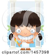 Clipart Of A 3d Grinning Hispanic Girl Holding A Torch Over Columns Royalty Free Vector Illustration by Cory Thoman