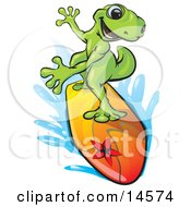 Sporty Green Gecko Riding A Colorful Surfboard And Rushing Through Blue Water Clipart Illustration
